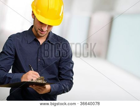 Technician Using Clipboard, Indoor