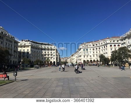 Thessaloniki, Greece April 23 2018 Aristotle Square Is The Main City Square And Is Located On Nikis