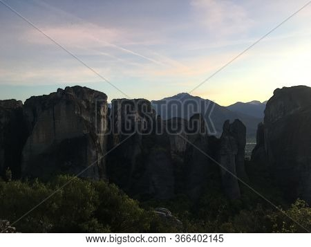 Beautiful Sunset View On Meteora In Trikala, Greece.
