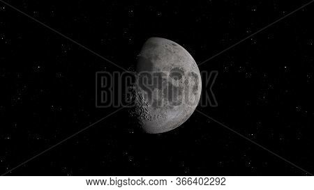3d Rendering Of The Lunar Orbit. The Moon Against The Background Of Space With Illuminated Craters A