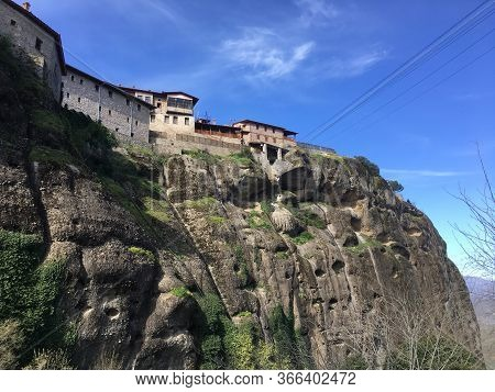 Beautiful View On Meteora In Trikala, Greece. Monastery