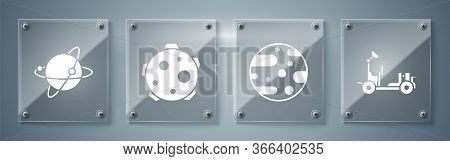 Set Mars Rover, Planet Mars, Planet And Satellites Orbiting The Planet Earth. Square Glass Panels