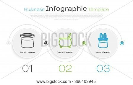 Set Line Magician Hat, Witch Cauldron And Magician Hat And Rabbit Ears. Business Infographic Templat