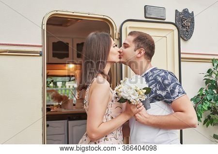 Lovers Near House On Wheels On Picnic. Family Vacation Travel Rv,holiday Trip In Motorhome.caravan C