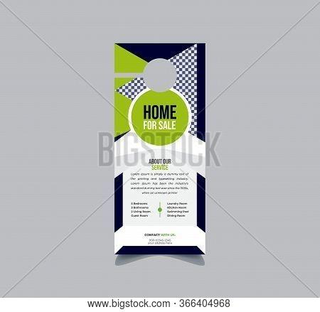 Real Estate Door Hanger And Modern Door Hanger Mock-up Door Hanger Template, Flyer Concept, Vector T
