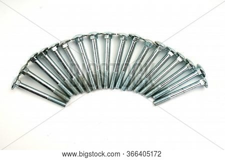 Metal Bolts, Iron Bolts, Wood Bolts, For Joints And Structures Isolated On A White Background