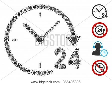 Collage 24 Hours Clock Composed Of Flu Virus Icons In Variable Sizes And Color Hues. Vector Viral El
