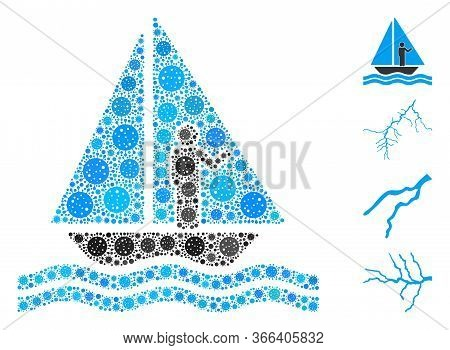 Mosaic Aboard Yacht Organized From Covid-2019 Virus Elements In Various Sizes And Color Hues. Vector