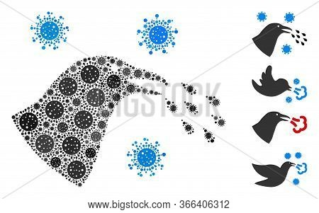 Collage Bird Flu Infection Designed From Coronavirus Icons In Various Sizes And Color Hues. Vector I