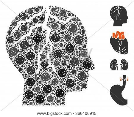 Mosaic Brain Cancer United From Flu Virus Icons In Different Sizes And Color Hues. Vector Viral Elem