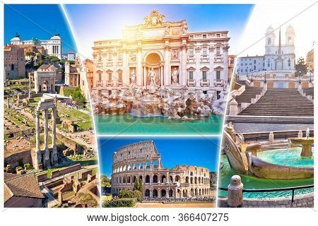 Rome Postcard. Eternal City Of Rome Famous Landmarks Tourist Postcard View, Capital Of Italy.