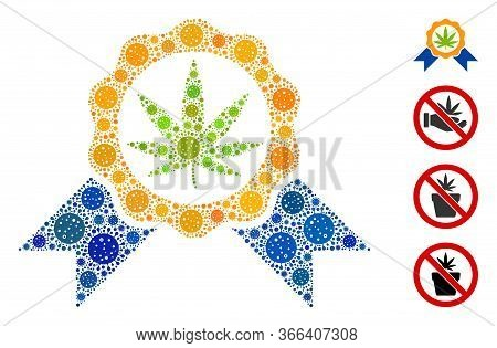 Mosaic Cannabis Legalize Designed From Covid-2019 Virus Icons In Variable Sizes And Color Hues. Vect
