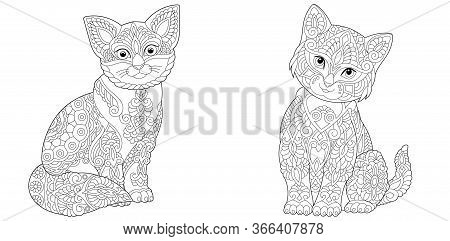 Coloring Pages. Two Cute Cats. Line Art Design For Adult Colouring Book With Doodle And Zentangle El