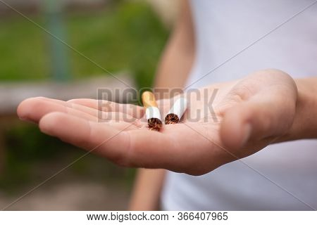 Hand Holding Cigarette Broken In Half Close-up. Health Concept, Stop Smoking, Bad Habit, Harm From T