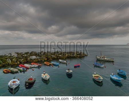 Fishermen Boats At Cinque Terre - Riomaggiore, Picturesque Fishermen Villages In The Province Of La
