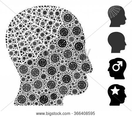 Mosaic Conservator Head Composed Of Flu Virus Icons In Different Sizes And Color Hues. Vector Viral