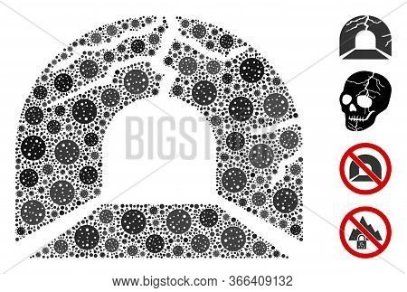 Mosaic Corrupted Tunnel Organized From Flu Virus Icons In Various Sizes And Color Hues. Vector Viral