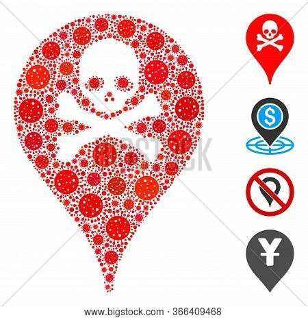 Mosaic Danger Zone Map Marker Composed Of Covid-2019 Virus Items In Different Sizes And Color Hues.