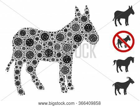 Collage Donkey Organized From Coronavirus Icons In Different Sizes And Color Hues. Vector Pathogen I