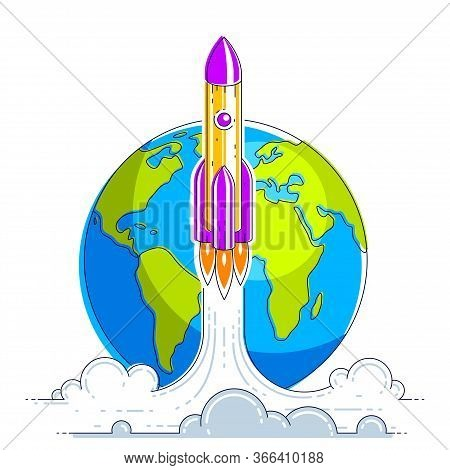 Rocket Start From Earth To Space To Discover Undiscovered Galaxies. Explore Universe, Interesting Sp
