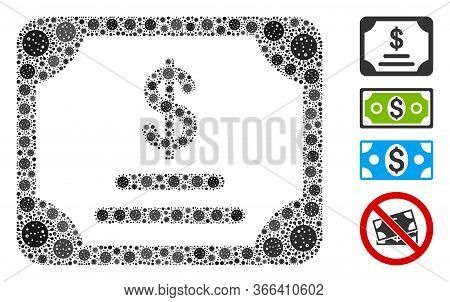Mosaic Financial Bond Designed From Flu Virus Icons In Different Sizes And Color Hues. Vector Infect