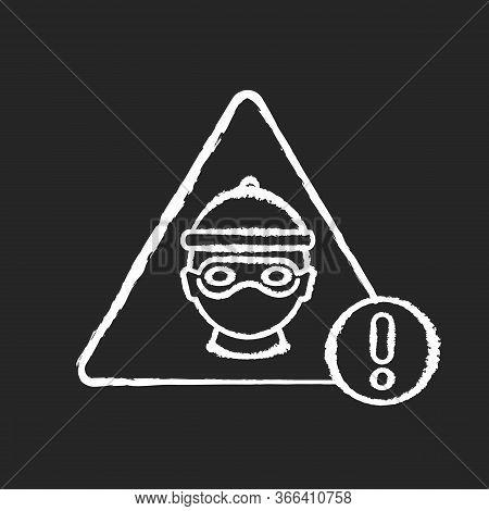 Cyber Crime Chalk White Icon On Black Background. Hacker Attack. Internet Fraud Threat. Information