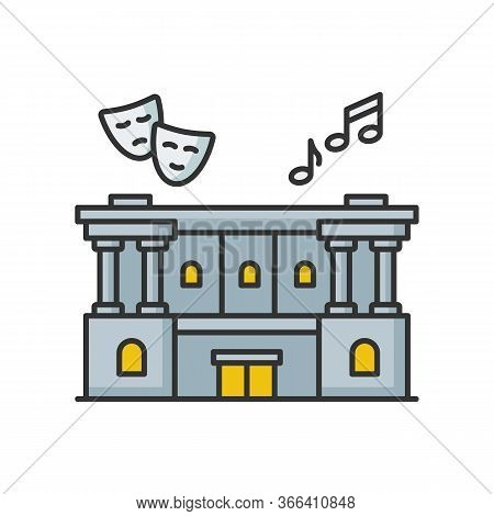 Cultural Center Rgb Color Icon. Theater Performance. Opera Modern Building Exterior. Classic Archite