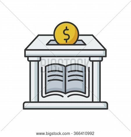 Public Library Donation Rgb Color Icon. Donate Money To Support Free Education. Charity For College