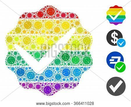 Collage For Lgbt Only Composed Of Flu Virus Icons In Random Sizes And Color Hues. Vector Pathogen Ic