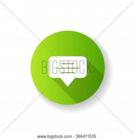 Speech Bubble Green Flat Design Long Shadow Glyph Icon. Empty Chat Cloud. Notification Box. Blank Di