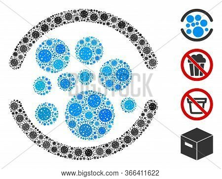 Collage Full Designed From Coronavirus Icons In Various Sizes And Color Hues. Vector Pathogen Icons