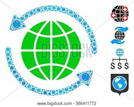 Collage Global Refresh Organized From Coronavirus Elements In Random Sizes And Color Hues. Vector Pa