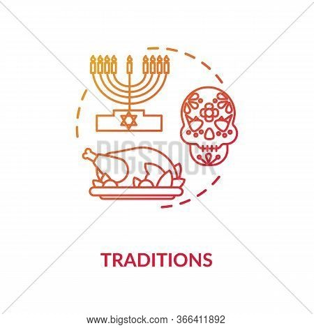 Tradition Red Concept Icon. National Heritage. Different Historical Customs. Religious Holiday. Cult