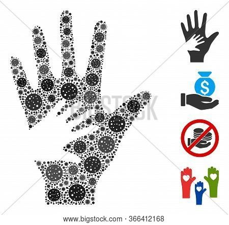 Mosaic Help Hand Organized From Flu Virus Icons In Various Sizes And Color Hues. Vector Pathogen Ico