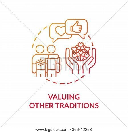Valuing Other Tradition Red Concept Icon. Multinational Communication. Interracial Companionship. Cu