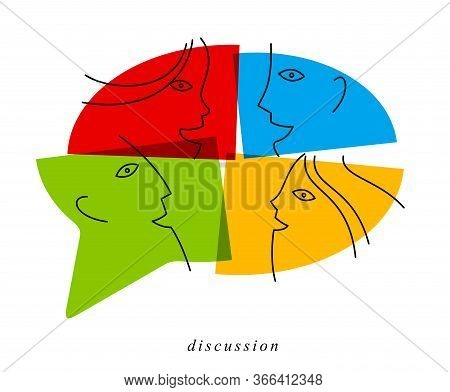 Conceptual Speech Bubble Communication Concept Vector Sign Isolated On White, Dialog Or Brainstorm,