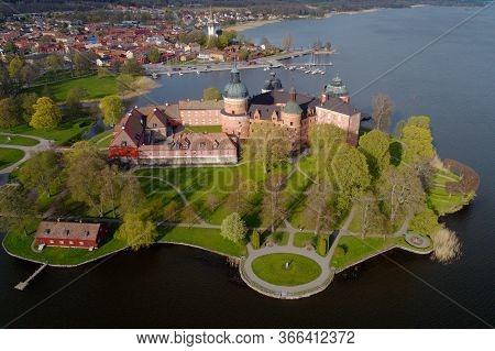 Aerial View Of The Swedish 16 Th Century Gripsholm Castle Located In The Town Mariefred Show In The