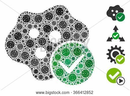 Mosaic Infected Composed Of Sars Virus Items In Variable Sizes And Color Hues. Vector Infection Item