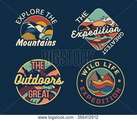 Set Of Four Different Camping Logos Or Badges For The Mountains, An Expedition, The Great Outdoors A