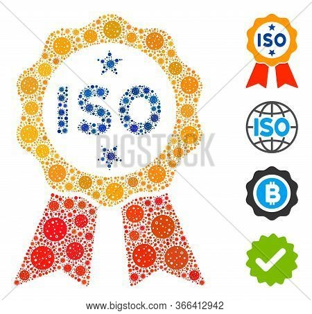 Mosaic Iso Certified Constructed From Sars Virus Icons In Different Sizes And Color Hues. Vector Vir