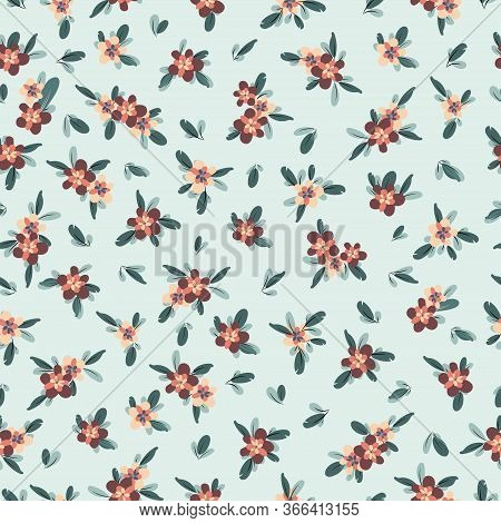 Cute Pattern In Small Flower. Small Colorful Flowers. Blue Background. Ditsy Floral Background. The