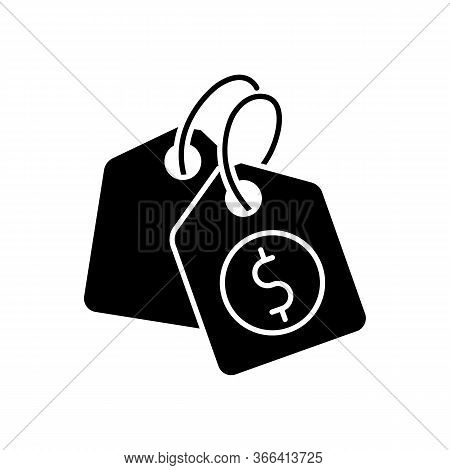 Price Tag Black Glyph Icon. Label For Purchased Merchandise. E Commerce And Distribution Of Products