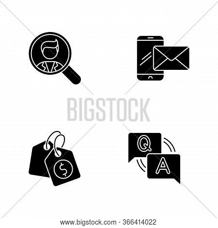Social Media Recruitment Black Glyph Icons Set On White Space. Looking For Employee. Company Recruit