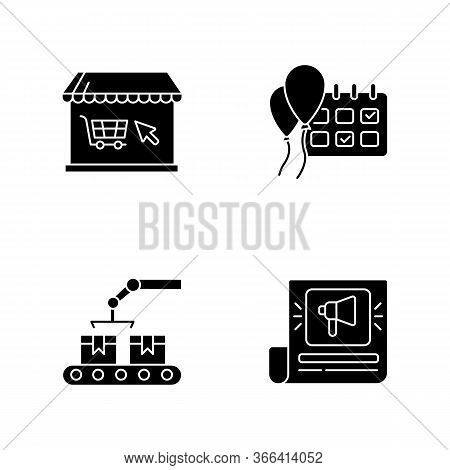 Social Media Store Black Glyph Icons Set On White Space. Online Shopping. Event Planning. Campaign D