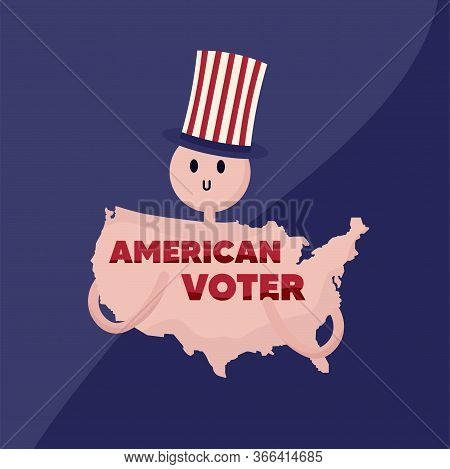 Map Of United States With Elections Text - Vector