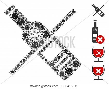 Mosaic No Vodka Drinking Designed From Covid-2019 Virus Icons In Random Sizes And Color Hues. Vector