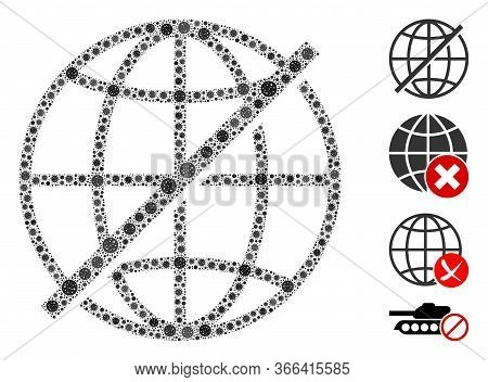 Mosaic Not Global Constructed From Flu Virus Icons In Random Sizes And Color Hues. Vector Infection