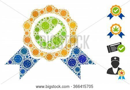Collage Official Designed From Coronavirus Elements In Different Sizes And Color Hues. Vector Viral