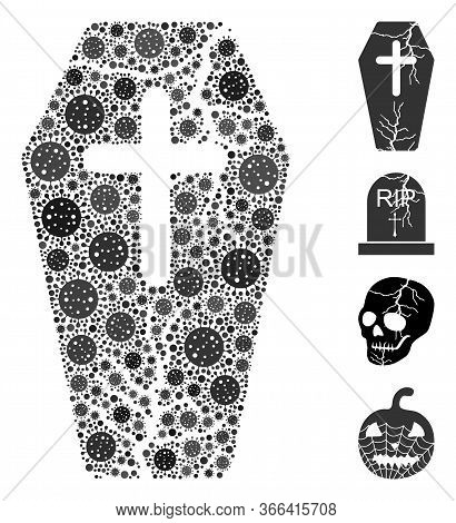 Mosaic Old Coffin Composed Of Covid-2019 Virus Icons In Various Sizes And Color Hues. Vector Pathoge