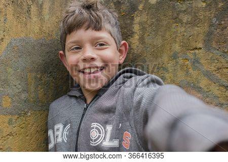 Palhoca, Santa Catarina, Brazil - November 02, 2015: Portrait Of Young And Smiling Guarani Ethnicity